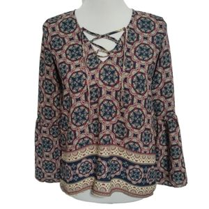 A&F| Blouse Multicolor Print Boho Peasant Lace-Up